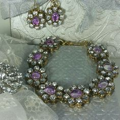 Our sweet lavender daisy chain bracelet and earring gift set is so lovely and a great price at only $59 for the set.