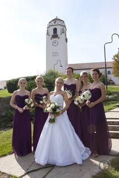 eggplant chiffon bridesmaid dresses : boise fall wedding : photography by Steve Smith Photography