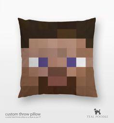 Minecraft Steve Throw Pillow Steve Mine Craft par TealPoodle, $36.00