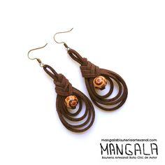 MANGALA bisuteria artesanal boho chic de autor- pendientes etnicos, pendientes artesanales, pendientes hippie boho chic, pendientes de cuero, earrings