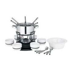 #7: Trudeau 24-Piece Stainless-Steel Lazy Susan 40-Ounce Fondue Set