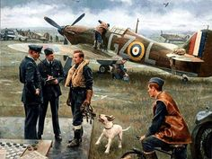 Hurricanes, Battle of Britain, by Gil Cohen Ww2 Aircraft, Fighter Aircraft, Military Aircraft, Fighter Pilot, The Spitfires, Aircraft Painting, Airplane Art, Ww2 Planes, Battle Of Britain