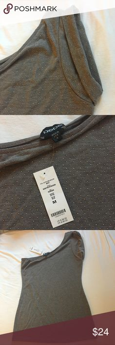 NWT Bebe One Shoulder Grey Studded Top NWT Bebe one shoulder top. Dark grey color with studded detail. New with tags. Size medium. bebe Tops
