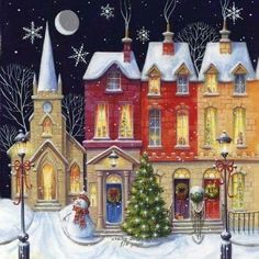 Christmas Wishes Cards Row Of Houses Artistic Scenic Gloss Finish (Pack Of Christmas Night, Christmas Scenes, Christmas Past, Retro Christmas, Christmas Wishes, Christmas Pictures, Christmas Crafts, Christmas Decorations, Christmas Artwork