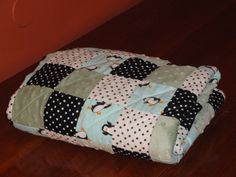 Happy Feet  Penguin Patchwork Baby Quilt with by grannysbabyquilts, $56.00