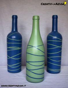 Creativ->Azione 3 Bottiglie decorate