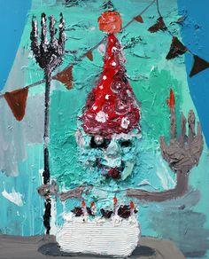 Zen Tainaka, Birthday Party, acrylic, clay, plastic on wooden panel, 91x72.7x7, 2015