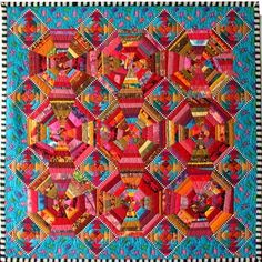 'Pineapple Pie' by Marta Amundson.  Kaffe Fassett fabric inspiration.