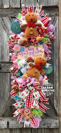 Candy Land Christmas, Christmas Mesh Wreaths, What Is Christmas, Christmas Swags, Whimsical Christmas, Christmas Gingerbread, Rustic Christmas, Christmas Time, Christmas Crafts