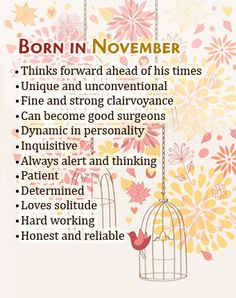 Posted to FB What Your Birth Month November Says About You November Born Quotes, November Baby, November Birthday, Birth Month Quotes, Baby Born Quotes, Birthday Quotes, Birthday Wishes, Birthday Stuff, Birthday Gifts