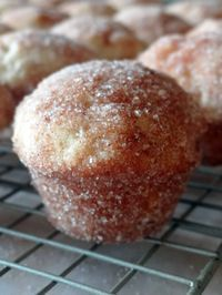 Downtown Bakery and Creamery's Cinnamon Donut Muffins. I made them this weekend. So. Amazing. Definitely would make them again. Did a 1/2 recipe in mini-muffin tins and used 1 1/2 t of lemon juice (or white vinegar) plus 1/2 c. of milk to sub for buttermilk.