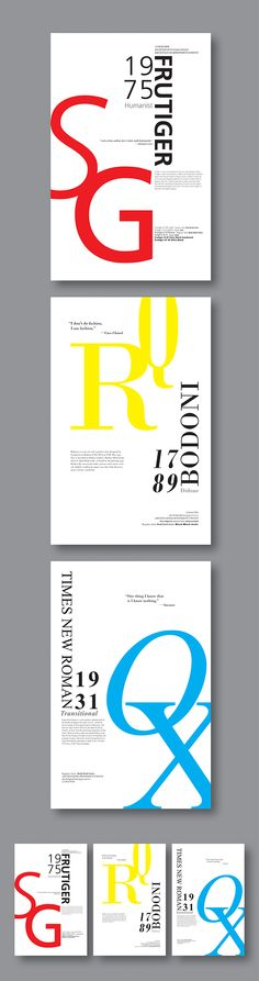 Typeface Posters // Frutiger, Bodoni and Times Roman on Behance // letter forms as buildings for book poster Poster Fonts, Typography Poster Design, Type Posters, Typography Layout, Typographic Poster, Lettering Design, Logo Design, Brochure Design, Print Design