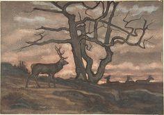 Deer and Tree Against Sunset, Antoine-Louis Barye