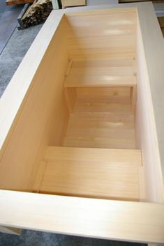 ofuro: japanese ofuro bathtub in hinoki wood handmade in Japan by bartokdesign Co. Enjoy soaking in this aromatic hot tub spa as if you were in a japanese onsen! Basement Entrance, Basement Guest Rooms, Basement Windows, Basement Bathroom, Small Bathroom, Bathroom Ideas, Wood Bathtub, Wood Tub, Laminate Tile Flooring