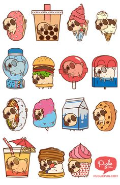 Two for my favorite things in the world pugs and food Cute Food Drawings, Cute Animal Drawings, Kawaii Drawings, Stickers Kawaii, Cute Stickers, Kawaii Doodles, Cute Doodles, Griffonnages Kawaii, Art Mignon