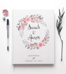 Custom Floral Wreath Wedding Guest Book and other beautiful stationery pieces