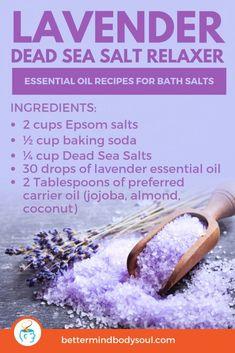 Bath Recipes, No Salt Recipes, Homemade Soap Recipes, Diy Bath Salts With Essential Oils, Diy Aromatherapy Bath Salts, Lavender Essential Oil Uses, Essential Oil Bath Bombs, Making Essential Oils, Essential Oils Soap