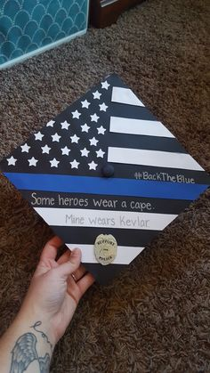 Law enforcement Graduation Cap - New Deko Sites Graduation Cap Designs, Graduation Cap Decoration, High School Graduation Gifts, Graduation Diy, Criminal Justice Graduation, Cap Decorations, Grad Cap, Law Enforcement, Cap Ideas