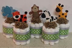 Set of 5 Green Jungle Animal Diaper Cake by StorkandCo on Etsy, $40.00
