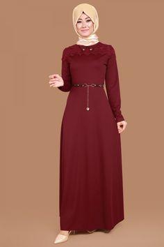 Göğsü Dantelli Örme Elbise Bordo Ürün kodu: BNM00185 --> 79.90 TL