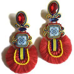 Ooak orecchini con nappine   Orecchini ceramica orecchini