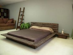Vintage Rustic Bedroom Ideas with Natural Shade: Rustic Bedroom Ideas Wooden Low Profile Bed Frame Ivory Floor Grey Wall Glass Candle Holder Ladder Shelf Brown Sofa ~ dickoatts.com Bedroom Designs Inspiration