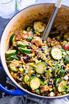 Tex Mex Rice and Beans Recipe is a 30 minute one pot easy and healthy Mexican rice with zucchini, brown rice, black beans, corn, diced tomatoes and spices. | ifoodreal.com