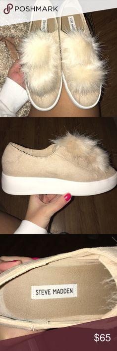 Size 8.5 Steve Madden shoes Size 8.5 Steve Madden puff ball shoes, worn once Steve Madden Shoes Sneakers