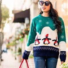 "Penguin snowflake sweater Flat Measurement of Garment Not Worn. Length To Hem 69cm/27"" , Sleeve Length 66cm/26"".  Worn 1x. Boohoo Sweaters Crew & Scoop Necks"