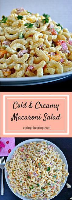 This creamy macaroni salad is perfect side dish for all pasta lovers. This macaroni salad consists of fresh vegetables, ham, cheese, creamy mayo and sour cream. Creamy Macaroni Salad, Best Macaroni Salad, Macaroni Salads, Cold Pasta Salads, Pasta Salad Recipes Cold, Creamy Pasta, Pesto, Healthy Appetizers, Healthy Soups