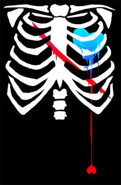 I like how this piece is very simple. This skeleton body and the bleeding hearts and represent death.