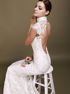 Backless Mermaid Wedding Dress with Lace Cap Sleeves