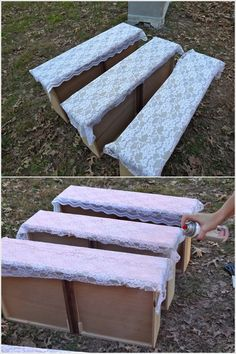 Using lace to revamp drawers to create a beautiful chest of drawers.