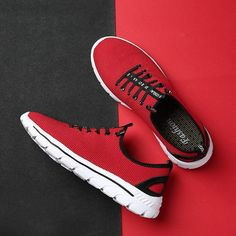 29464dd9041 Men Knitted Fabric Elastic Laces Sport Running Sneakers