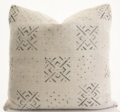 African White Mudcloth Pillow Cover Ethnic Textile by BohoPillow