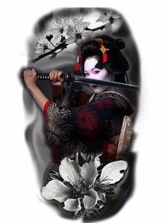 Geisha Tattoos, Geisha Tattoo Design, Japanese Artwork, Japanese Tattoo Art, Japanese Sleeve Tattoos, Guerrero Tattoo, Tattoo Guerreiro, Ronin Samurai, Samurai Artwork