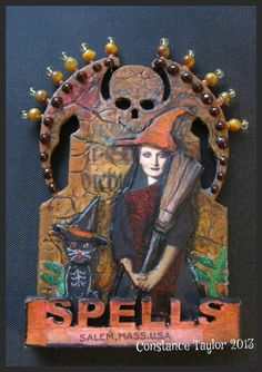 """Spells"" ATC Halloween Tombstone"