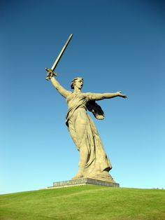 The Motherland Calls was the tallest building in the world when it was constructed, measuring 279 feet from the plinth to the tip of the sword. The monument commemorates the Battle of Stalingrad and was built by Yevgeny Vuchetich in Volgograd, Russia in 1967. The figure, which is 170 feet tall, is Valentina Izotova, a native of the city, who posed for Mother Motherland.