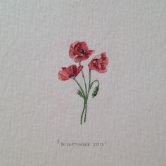 Lorraine Loots: Tiny Watercolor Oriental Poppies