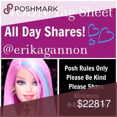 🌺TUESDAY SHAREBEAR SIGN UP🌺 All Poshmark Compliant Closets are Welcome! 💜Please tag only your closet name below💜Please share at least 8 For Sale Listings from the closets below💜Please take your time sharing these lovely closets! Sign Up closes at Noon EST but you have throughout the day to complete your POSHLOVE and shares. Please spread joy and love and lift up your fellow SHAREBEARS!💜  Please remember to sign out when finished and have FUN!💜 Miss Me Jeans Ankle & Cropped