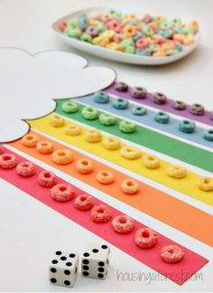 Math games 290130400980399724 - Color the Rainbow with Fruit Loops – Math game for preschoolers that involves counting and color recognition. Patrick's Day! Source by Preschool Math Games, Preschool Weather, Preschool Colors, Preschool Learning, Kindergarten Math, Preschool Activities, Montessori Preschool, Montessori Elementary, Math Games For Preschoolers