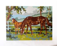 Vintage Equestrian Paint By Numbers Horse by alsredesignvintage