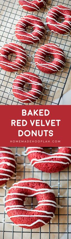 Baked Red Velvet Donuts! Super moist and spongy baked donuts in classic red velvet flavor topped with powdered sugar or classic vanilla icing. Need I say more?   HomemadeHooplah.com