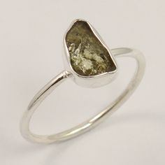 Cute Ring Size US 6.75 Natural GREEN TOURMALINE Raw Gemstone 925 Sterling Silver #Unbranded
