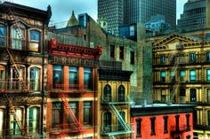 HDR photo of old Tribeca buildings on Church St across from the Tribeca Grand Hotel. These buildings are known as 'Second Empire' buildings and were built around the 1870s.