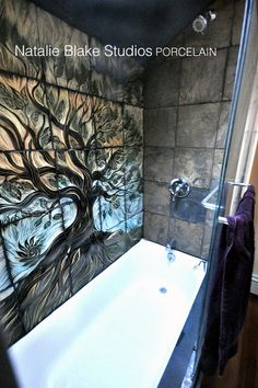 Natalie Blake Studios handmade tiles in a tree of life design for your custom bath . . . backsplash ready!