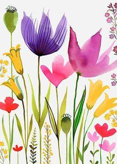 "bellasecretgarden: ""(via Margaret Berg Art : Illustration : florals / spring Art Floral, Watercolor Cards, Watercolor Flowers, Watercolor Paintings, Watercolors, Pinterest Pinturas, Pretty Flowers, Painting Inspiration, Painting & Drawing"
