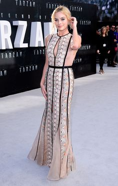 Margot Robbie at the London red carpet premiere of The Legend of Tarzan wearing a romantic custom-made Miu Miu dress.