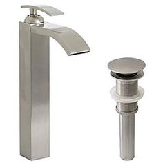 Geyser Egyptian Style Brushed Nickel Bathroom Vessel Faucet with Pop-up Drain