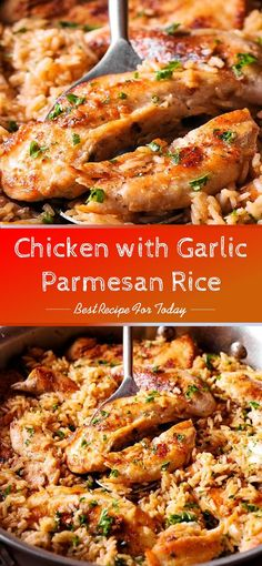 with Garlic Parmesan Rice low Cooker Chicken Breasts and Gravy is the ultimate comfort food, an easy crockpot recipe for tender chicken and yummy gravy. Garlic Butter Chicken with Parmesan Cauliflower Rice - Crispy, soft and SO delish! Perfect for whe. Best Chicken Recipes, Meat Recipes, Dinner Recipes, Cooking Recipes, Healthy Recipes, Parmesan Recipes, Healthy Meals, Food Dishes, Rice